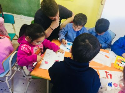 Jack working at a community kindergarten in Buenos Aires