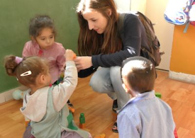 Celine visiting one of Voluntario Global's Projects